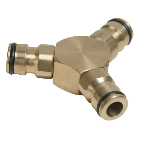 "Silverline763559 3 Way Hose Connector Brass 1/2"" Male"